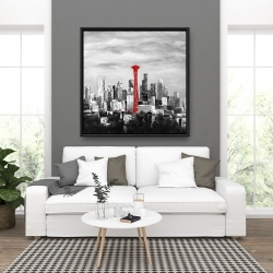 Framed 36 x 36 - Space needle in red