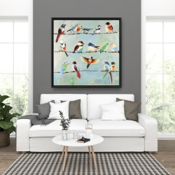 Framed 36 x 36 - Small abstract colorful birds
