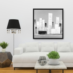 Framed 36 x 36 - Abstract black and white buildings