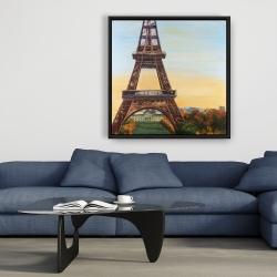 Framed 36 x 36 - Eiffel tower by dawn