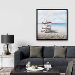 Framed 36 x 36 - White beach chair