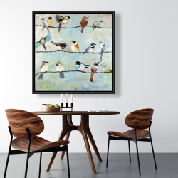 Framed 36 x 36 - Small colorful birds