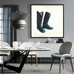 Framed 36 x 36 - Leather cowboy boots