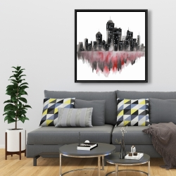 Framed 36 x 36 - Red watercolor cityscape