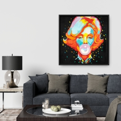 Framed 36 x 36 - Colorful marilyne monroe bubblegum