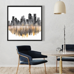 Framed 36 x 36 - Yellow watercolor cityscape