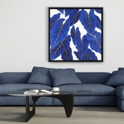 Framed 36 x 36 - Tropical abstract blue leaves