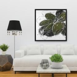 Framed 36 x 36 - Green flower with splash outline