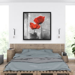 Framed 36 x 36 - Two red flowers on a grayscale background