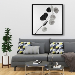 Framed 36 x 36 - Grayscale branch with round shape leaves
