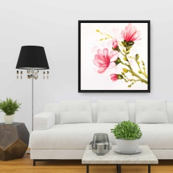 Framed 36 x 36 - Watercolor magnolia flowers