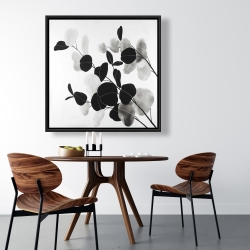 Framed 36 x 36 - Grayscale branches with leaves