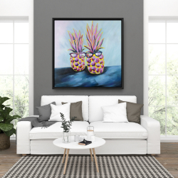 Framed 36 x 36 - Funny pineapples with sunglasses