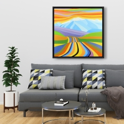 Framed 36 x 36 - Mountain road multicolored