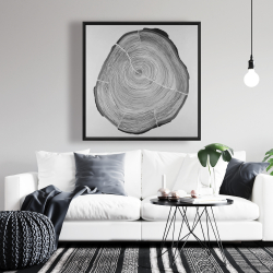 Framed 36 x 36 - Grayscale wood log