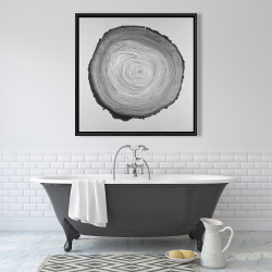 Framed 36 x 36 - Grayscale round wood log