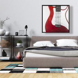 Framed 36 x 36 - Red electric guitar