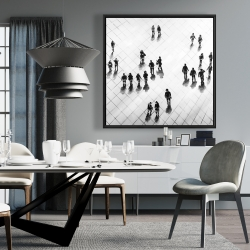 Framed 36 x 36 - Overhead view of people on the street