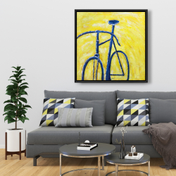 Framed 36 x 36 - Blue bike on yellow background