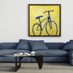 Framed 36 x 36 - Blue bike abstract