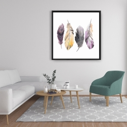 Framed 36 x 36 - Colorful feather set
