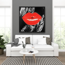 Framed 36 x 36 - Pouty glossy lips
