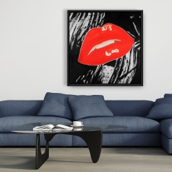 Framed 36 x 36 - Kissable glossy lips on a black background