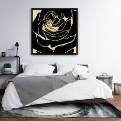 Framed 36 x 36 - Cutout black rose