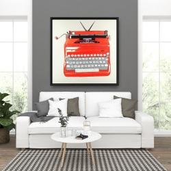 Framed 36 x 36 - Red typewritter machine