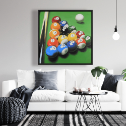Framed 36 x 36 - Pool table with ball formation