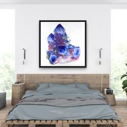 Framed 36 x 36 - Blue and purple quartz cristal
