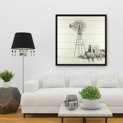 Framed 36 x 36 - Vintage old texas windmill