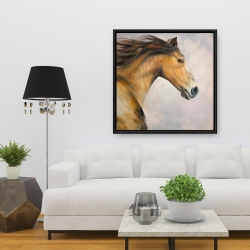 Framed 36 x 36 - Proud steed with his mane in the wind
