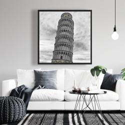 Framed 36 x 36 - Outline of tower of pisa in italy