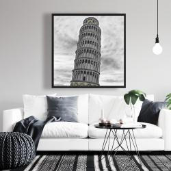 Framed 36 x 36 - Tower of pisa in italy