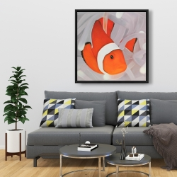 Framed 36 x 36 - Clownfish under the sea