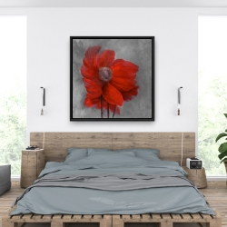 Framed 36 x 36 - Red flower in the wind