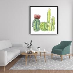 Framed 36 x 36 - Four little cactus