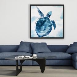 Framed 36 x 36 - Blue turtle
