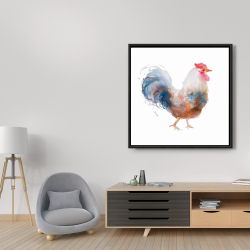 Framed 36 x 36 - Watercolor rooster