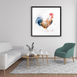 Framed 36 x 36 - Rooster watercolor style
