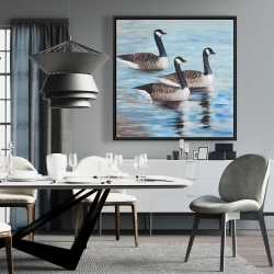 Framed 36 x 36 - Canada geese in water