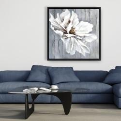 Framed 36 x 36 - Flower on wood