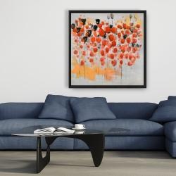 Encadré 36 x 36 - Champ de fleurs ronde rouges abstraites