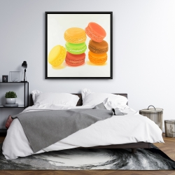 Framed 36 x 36 - Delicious macaroons