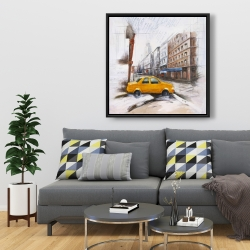 Framed 36 x 36 - Taxi in the street sketch