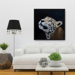 Framed 36 x 36 - Realistic leopard face