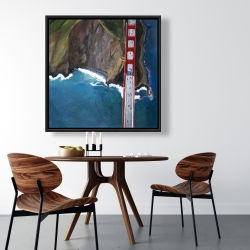 Framed 36 x 36 - Overhead view of the golden gate and mountains