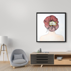 Framed 36 x 36 - Lady with flowers in her hair