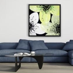 Framed 36 x 36 - Yellow flower with burst center